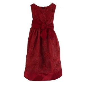 RARE EDITIONS | SZ 6  GIRLS MULTI LAYER RED DRESS